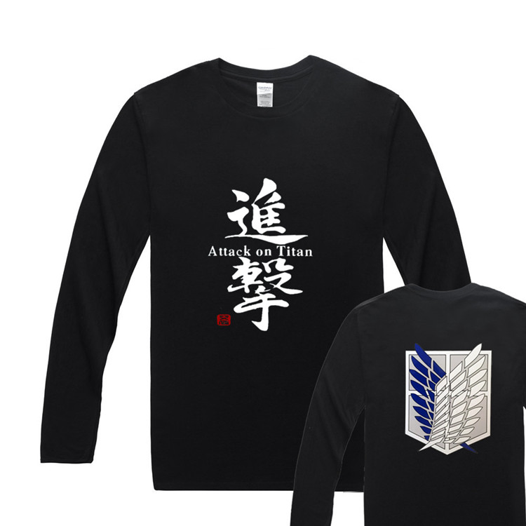 US $11 39 40% OFF|Fashion Anime T Shirt Attack On Titan Wings of Freedom T  Shirt O Neck Long Sleeve T Shirt Casual Men Tops Tee-in T-Shirts from Men's
