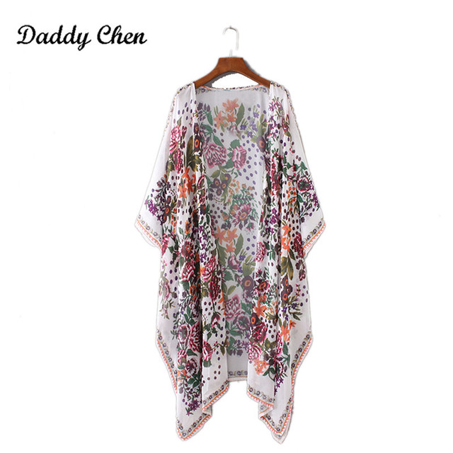 Japanese Kimono robe Cardigan Women Fashion Chiffon Street Casual Wear Floral Print Cover Up Beach Long Blouse v neck bat shirts