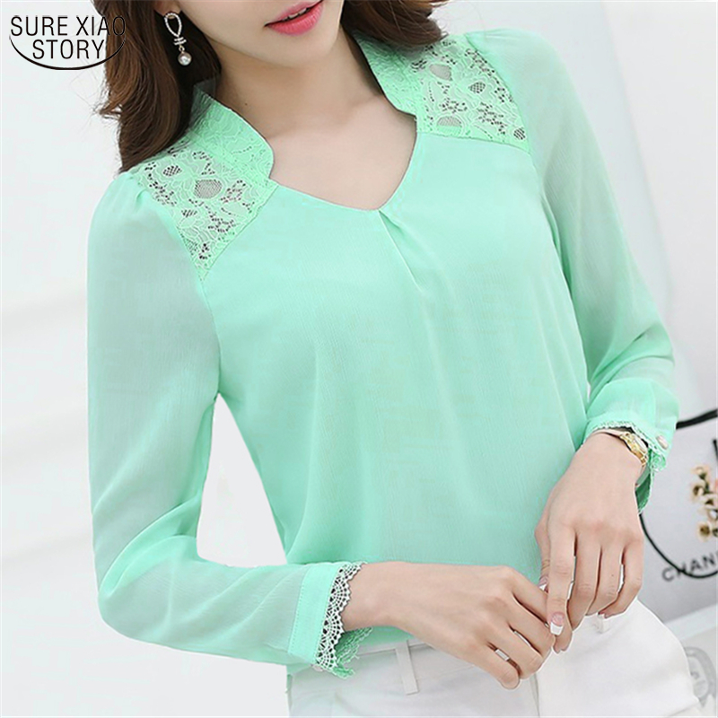 New 2017 Spring Women's Profession Long-sleeved Solid Chiffon Blouse Shirts Women Plus Size Fashion Casual Women Clothing 860