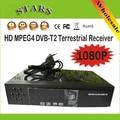 Nuevo HD PVR MPG4 Digital Terrestre DVB-T2 TV Receptor H.264 1080 P DVB T2 Tuner Con USB, Al Por Mayor Envío libre Dropshipping