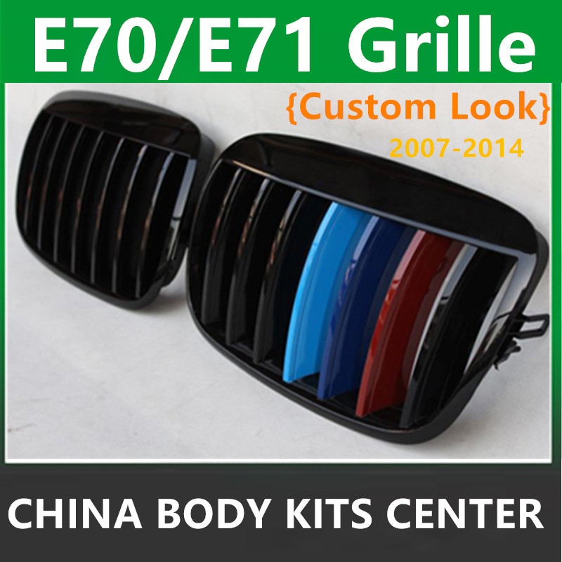 X5 E70 Front Kidney Custom Gloss Black ABS Grill Grille Fitting For BMW X6 E71 E72 2007 - 2013 SUV High Performance M Color f15 f16 kidney gloss black abs plastic original style front racing grill grille for 2014 2015 2016 bmw f16 x6 bmw f15 x5