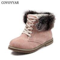 2018 Detachable Fur Cuff Women Boots Winter Warm Martin Combat Snow Ankle Boots Cold Weather Shoes Woman Plus Size 34 43 WBS553