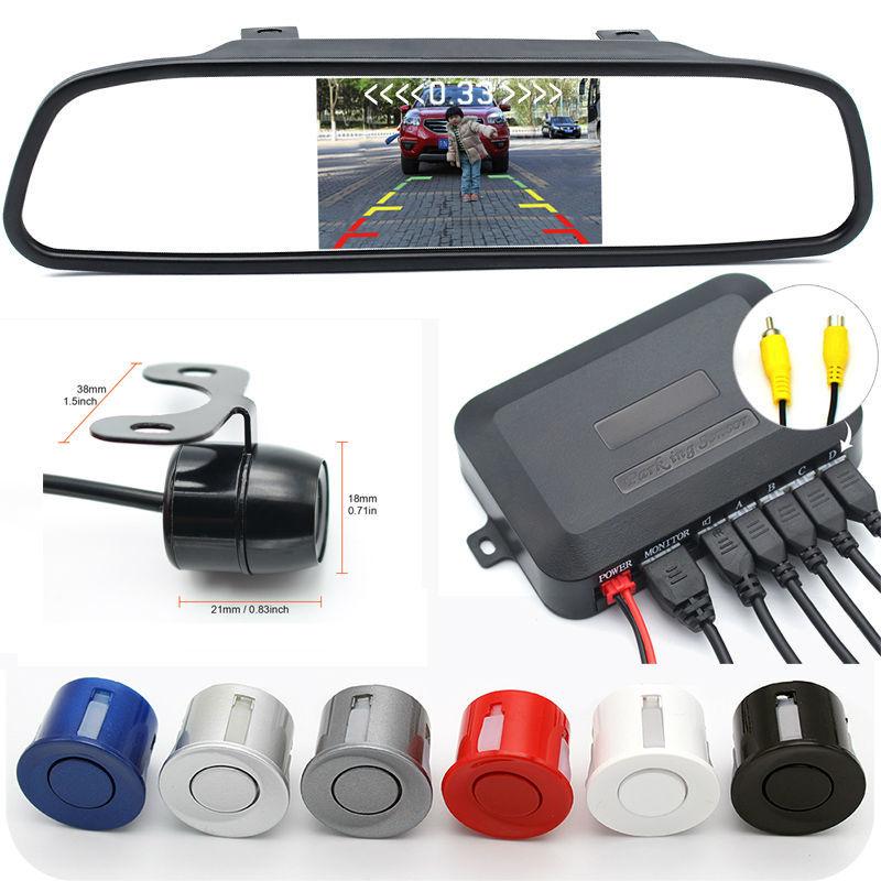 Assistenza Al Parcheggio auto 3IN1 Rear View Mirror Monitor + Backup Reverse Camera + Video Radar Detector Sensore di Allarme Acustico