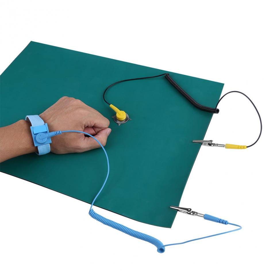 Anti Static Wrist Strap Ground Wire Mat Set Kit Electrostatic ...