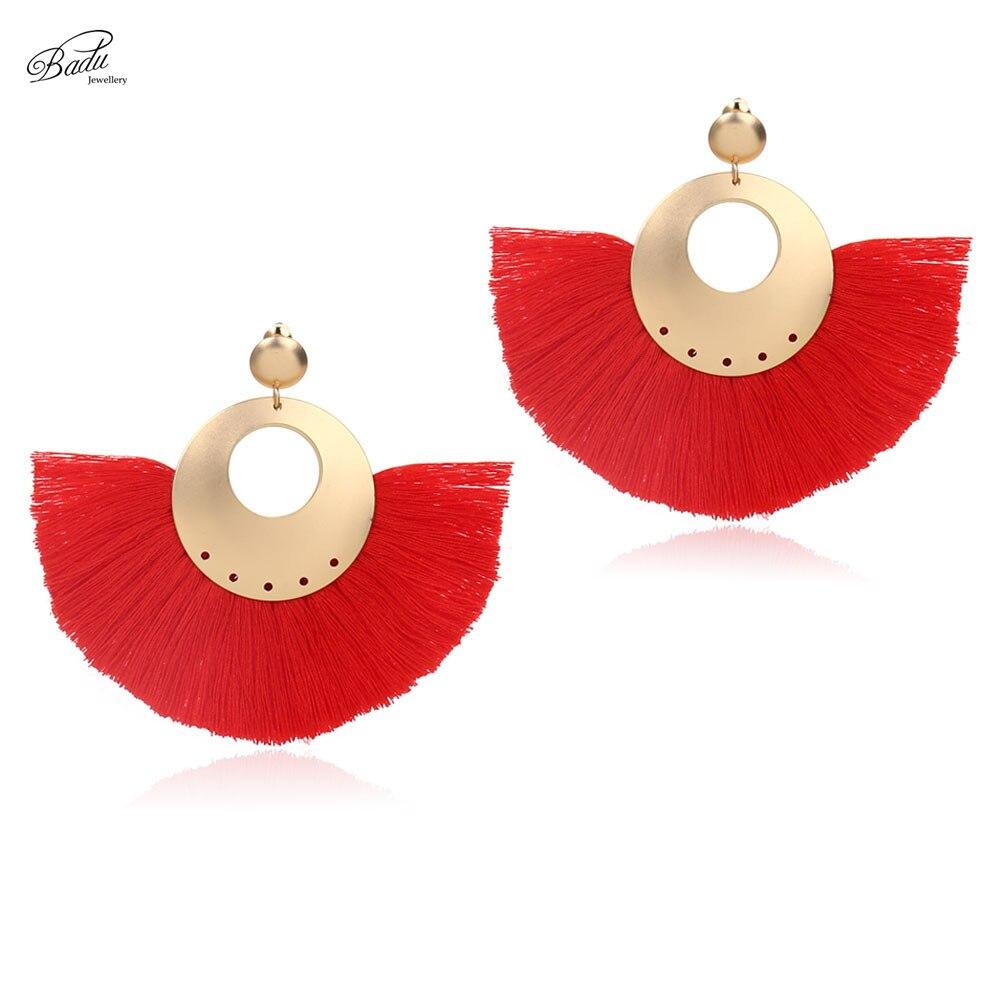 Badu Red Tassel Earrings Women Bohemian Big Heavy Gold Dangle Earring Fan Shape Fashion Jewelry 7