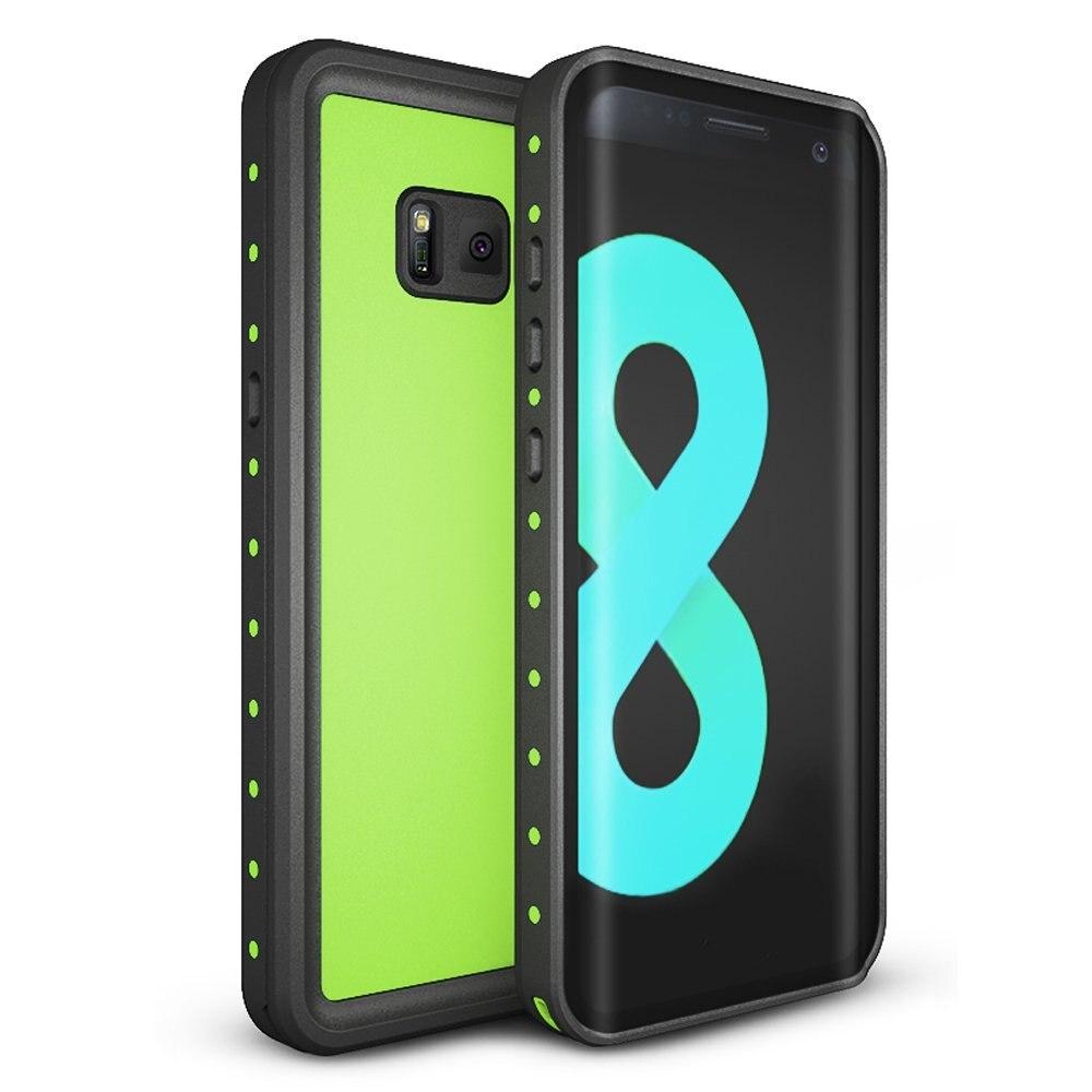 Para Samsung Galaxy caso S8 IP68 À Prova D' Água À Prova de Choque Sujeira Neve S8 Com Toque ID Tampa Da Caixa de proteção para Galáxia Luz verde