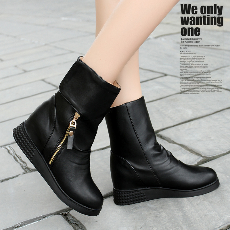 Women Autumn Winter Height Increase Elevator Side Zipper Round Toe Fashion Ankle Snow Boots Size 34-39 SXQ0826