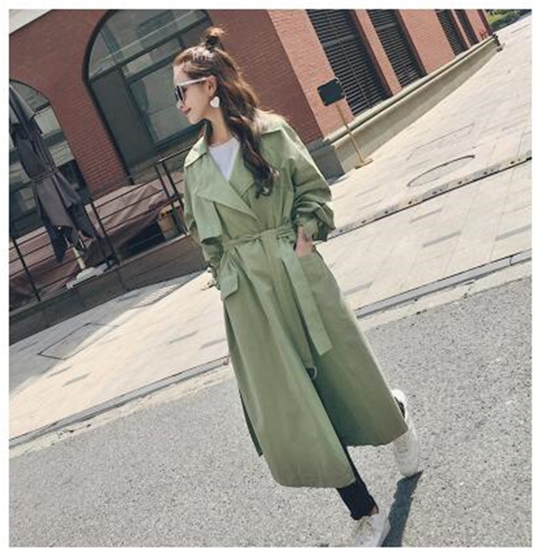 Brand new Fashion 2019 Fall /Autumn Women Casual Simple Classic Cotton   Trench   coat with Blet Caramel Mint Green Overcoat