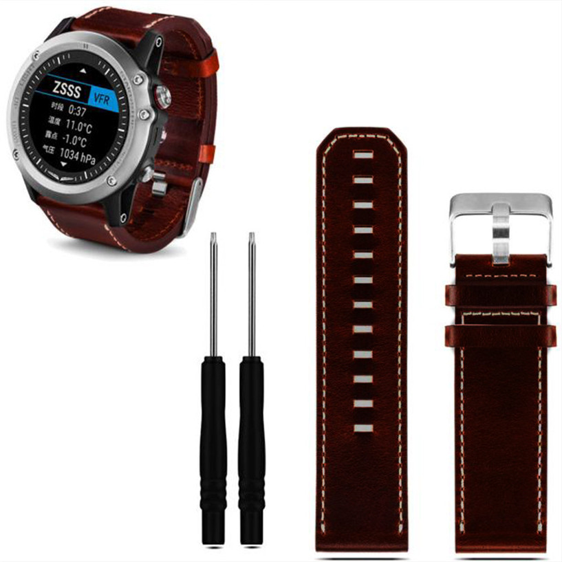 Fabulous hot Luxury Leather Strap Replacement Watch Band With Tools For Garmin Fenix 3 wholesale AUG26