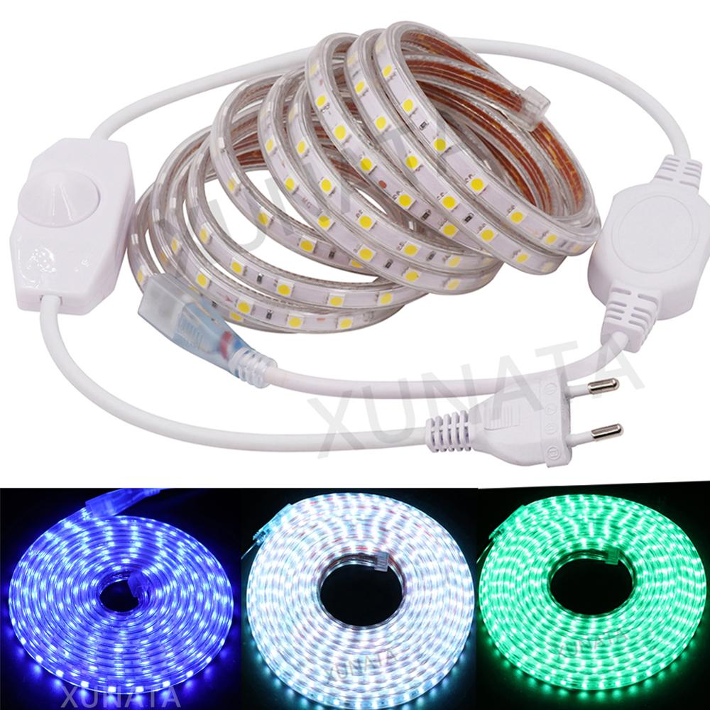 SMD 5050 AC220V LED Strip Flexible Light 60leds/m Waterproof Led Tape With Dimmer EU Power Plug 1M/5M/30M Under Cabinet Light