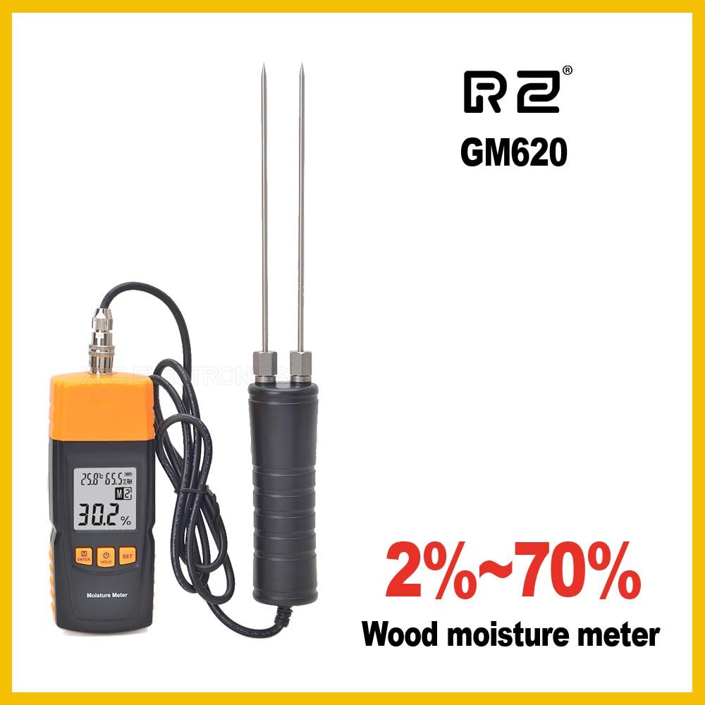 RZ GM620 Měřič vlhkosti dřeva Nastavitelný pro teplotu 4 druhů dřevin Zrno