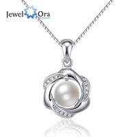 Classic Flower Pearl 925 Sterling Silver Necklaces Pendants Cubic Zirconia Women Silver Pendant Necklace JewelOra NE101317