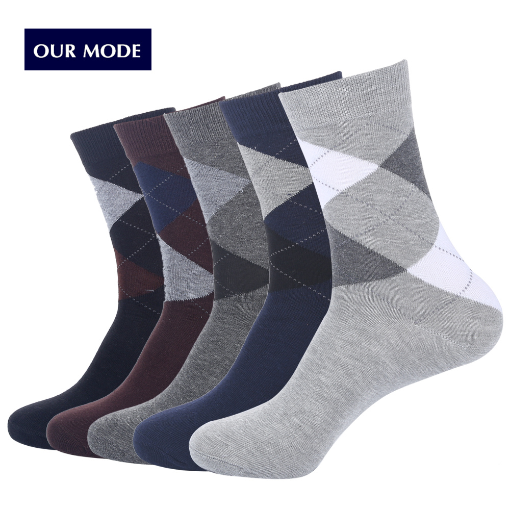 OUR MODE autumn winter high quality men brand business cotton socks for man diamond plaid long socks male crew sock 5pairs/lot