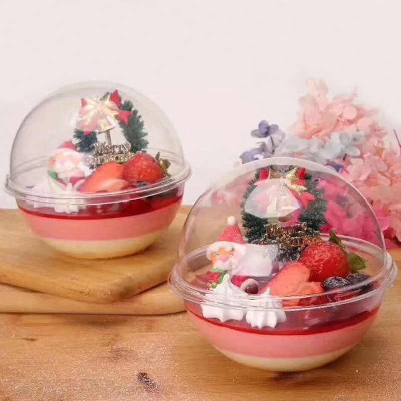 900pcs 13*12cm Simple Clear Round Plastic Mousse Cup Cupcake Boxes Ball Dessert Cake Box Free Shipping ZA6278