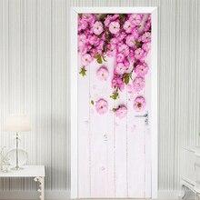Современная ручная роспись художественная дверная Наклейка 3D розовые цветы пасторальный стиль Фреска фото обои Гостиная Свадебный дом ПВХ наклейка s