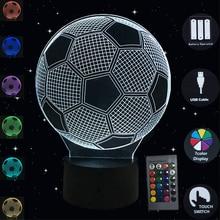 3D Night Light Football Led Lamp Touch Sensor Luminaria Table Lamp 7 Colors Illusion Desk Lamp Soccer Shape Bedroom Home Decor наконечник для карниза уют цилиндр 2 26 21то 0221 шампань диаметр 25 см 2 шт