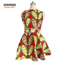 2018 Original Afripride private custom african clothes top+skirt suit for women knee length sleeveless batik summer set A722616