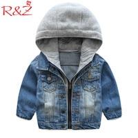 R Z Baby Boys Coat 2017 New Spring Autumn Wash Soft Denim Coat Hooded Zipper Coat