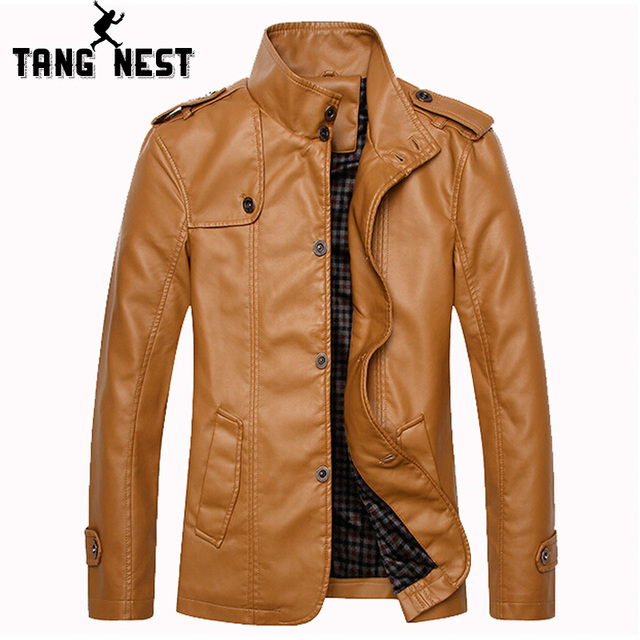New Style 2017 Men's Commercial Fashionable PU Leather Jacket Fitness New Casual 3 Colors Stand Collar Asian Size Jacket MWP251