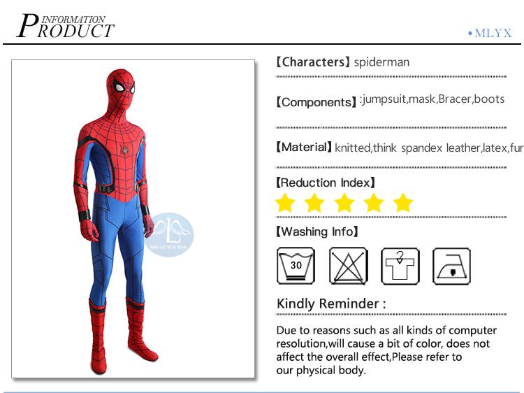 US $87 4 5% OFF|MANLUYUNXIAO Spiderman Homecoming Cosplay Costume Spandex  Zentai Suit Halloween Spiderman Costume For Men Custom Made-in Movie & TV