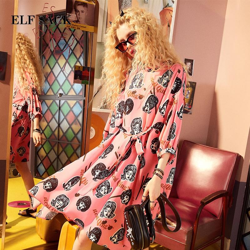 Эльф МЕШОК лето женская одежда с пышными рукавами платье Для женщин характер граффити печати платья с круглым вырезом асимметрия Chic Одна де...