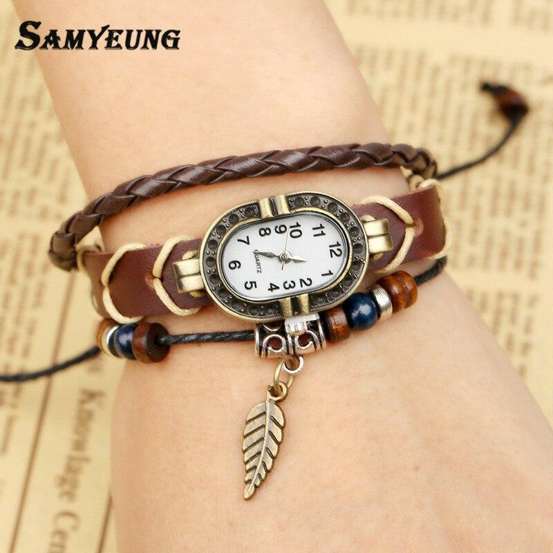 Samyeung Vintage Women Leather Watch Leaf Bracelets Handmade Pulseras Mujer Braslet Rope Charm Men Bracelet Women Braclet Femme
