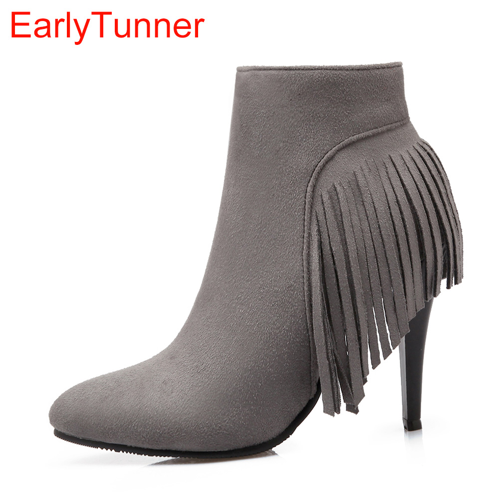 Brand New Sale Sexy Gray Brown Red Women Fringe Ankle Boots Lady Tassel Shoes High Stiletto Heel ELA07 Plus Big size 32 50 10