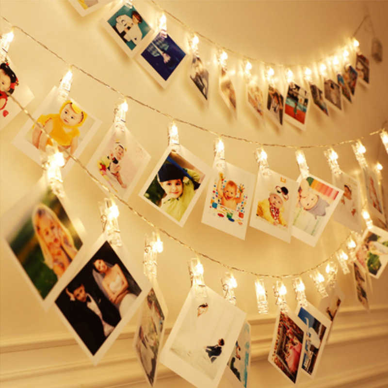 1m 2m 10/20LEDs Card Photo Clip String Light AA Battery 3 Modes LED Fairy Light Christmas Wedding Decor Party Pub Window Display