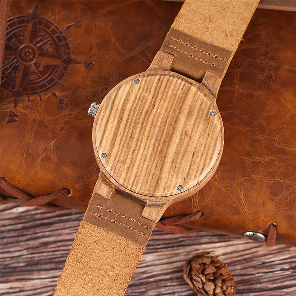 Men Wooden Wrist Watch Nature Sport Bamboo Simple New Arrival Genuine Leather Band Strap Quartz Watch (8)