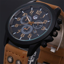 Новые деловые кварцевые часы, мужские спортивные военные часы, мужские армейские наручные часы с кожаным ремешком, часы с календарем