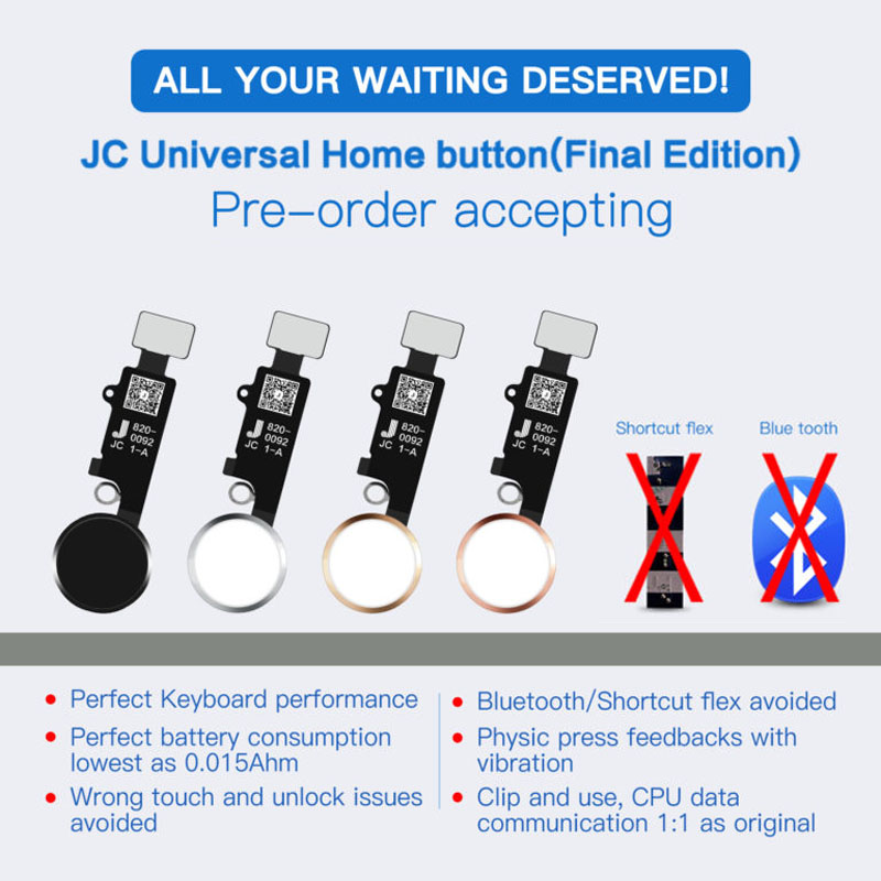 JC Universal No Bluetooth Home Button Flex For IPhone 7 8 Plus Return Menu Button Homebutton Assembly For IPhone 7+ 8+ 7P  Meibi