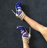 Real Photo Hot Selling Blue Gold Muti Color Strappy Sandals High Heel Cut out Cage Shoes Women Gladiator Sandals Boot