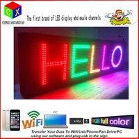 LED программируемый электронный P13 RGB Color светодиодная вывеска Дисплей 15 x 53 Дистанционное управление открытым Бег Доски для записей Дисплей