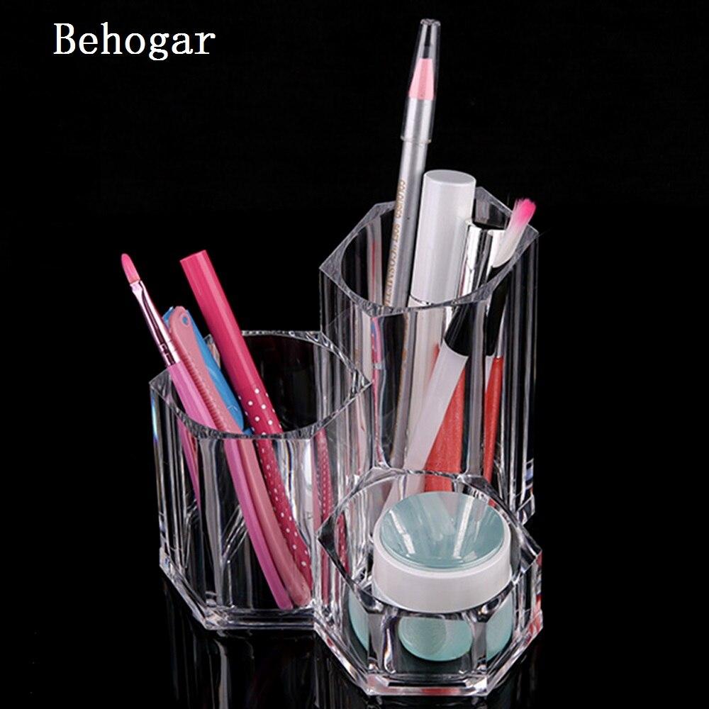Behogar Transparent Acrylique Rouge À Lèvres et Brosse Titulaire Maquillage Stockage Présentoir Cosmétique Rack Maquillage Organisateur Tampons de Coton Cas