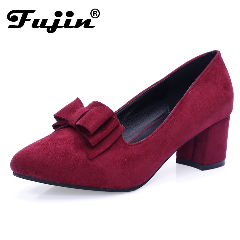 2020 Slipony Brand Big Size Women Spring Shoes Bow Square Shoe Heel Women Female Ladies Party With Bow Slip On Brand Women Pumps