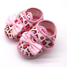2019 Newborn baby shoes Girls Infants Anti-slip Sneaker Leopard Print Bow Prewalker Soft Sole Sandals Single toddler girl shoes(China)