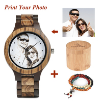 BOBO BIRD Wood watches With UV Printing Your Photo Men Ladies Quartz Wristwatch OEM Customized Gift UV C/D30