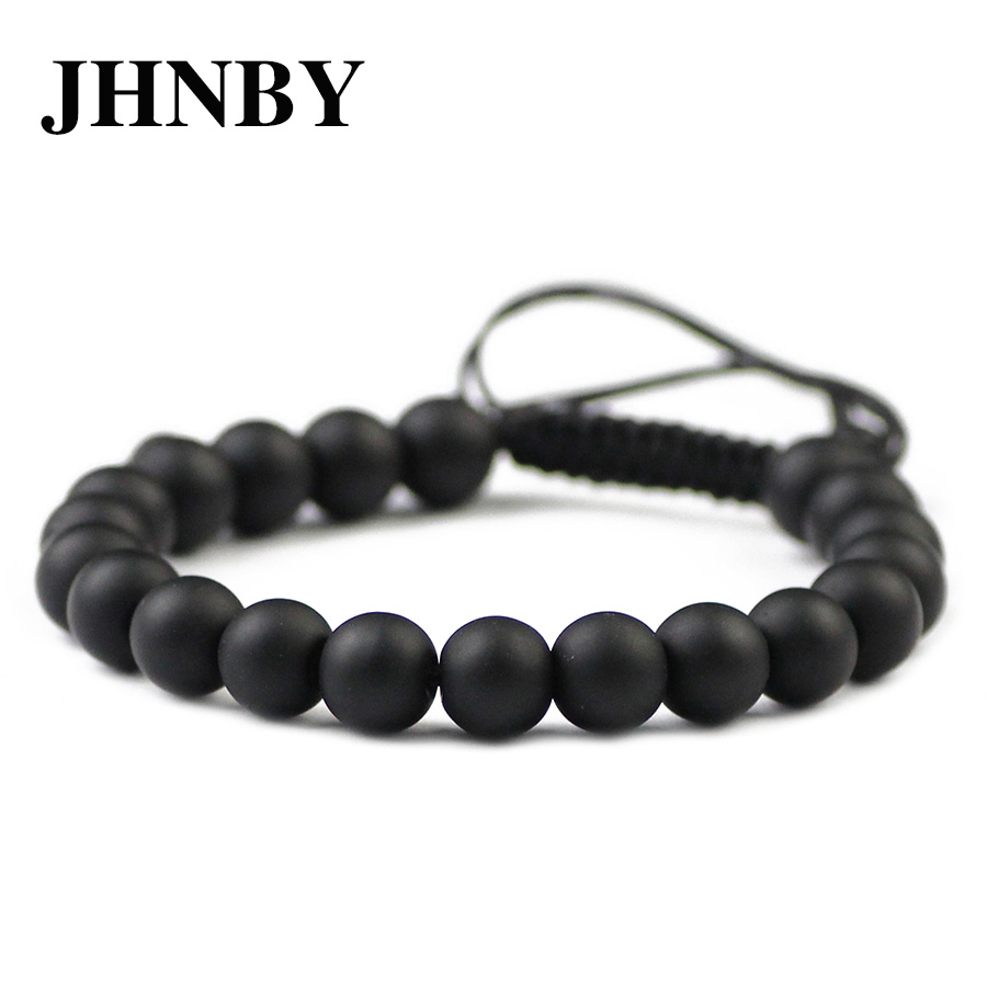JHNBY Matte Black Charm Stone Beads Bracelet For Women 6/8/10/12MM Braided/Elastic Rope Men Bangle Fashion Jewelry Gift Dropship