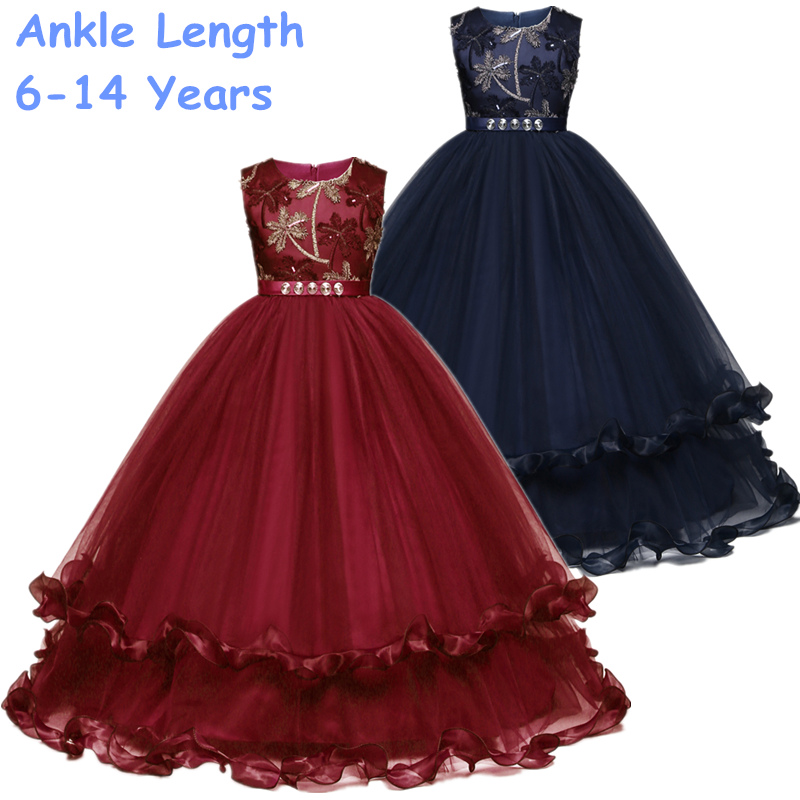 Purfle Royal Blue Teenagers Kids Girls Wedding Dresses Long Girl Dress Princess Party Ball Gown Pageant Formal Children Clothes Платье
