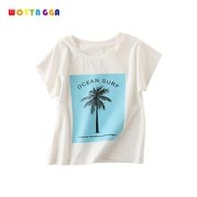 WOTTAGGA 2019 Summer Kids Children Boy Cotton Tree Short Sleeve Tops O Neck T Shirt Boys