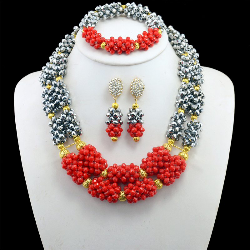 2017 Top Exquisite Dubai Jewelry Set Luxury Gold-color Sliver Red Nigerian Wedding African Beads Jewelry Sets2017 Top Exquisite Dubai Jewelry Set Luxury Gold-color Sliver Red Nigerian Wedding African Beads Jewelry Sets