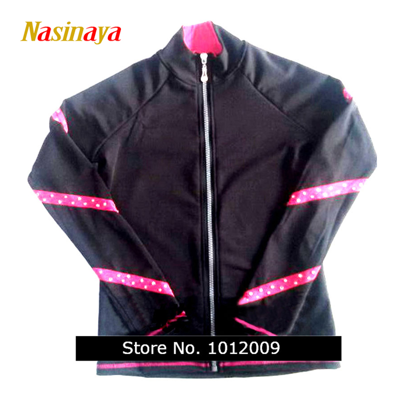 цена  Customized Clothes Ice Figure Skating Tops Jacket Gymnastics Black Pink Stripe Warm Fleece Adult Child Girl Clothing Rhinestone  онлайн в 2017 году