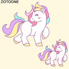 ZOTOONE Unicorn Patch Cartoon Iron On Transfer Cute Animal Patches For Children Clothes DIY T-shirt Dress Thermal Paper
