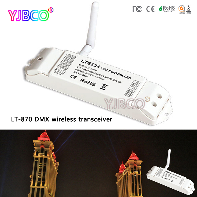 Free shipping DMX512 signal  ISM 64 channels 2.4G LT-870 DMX wireless transceiver for led lights moving head lights dhl free shipping wireless lcd dmx transmitter and receiver signal to wireless lights