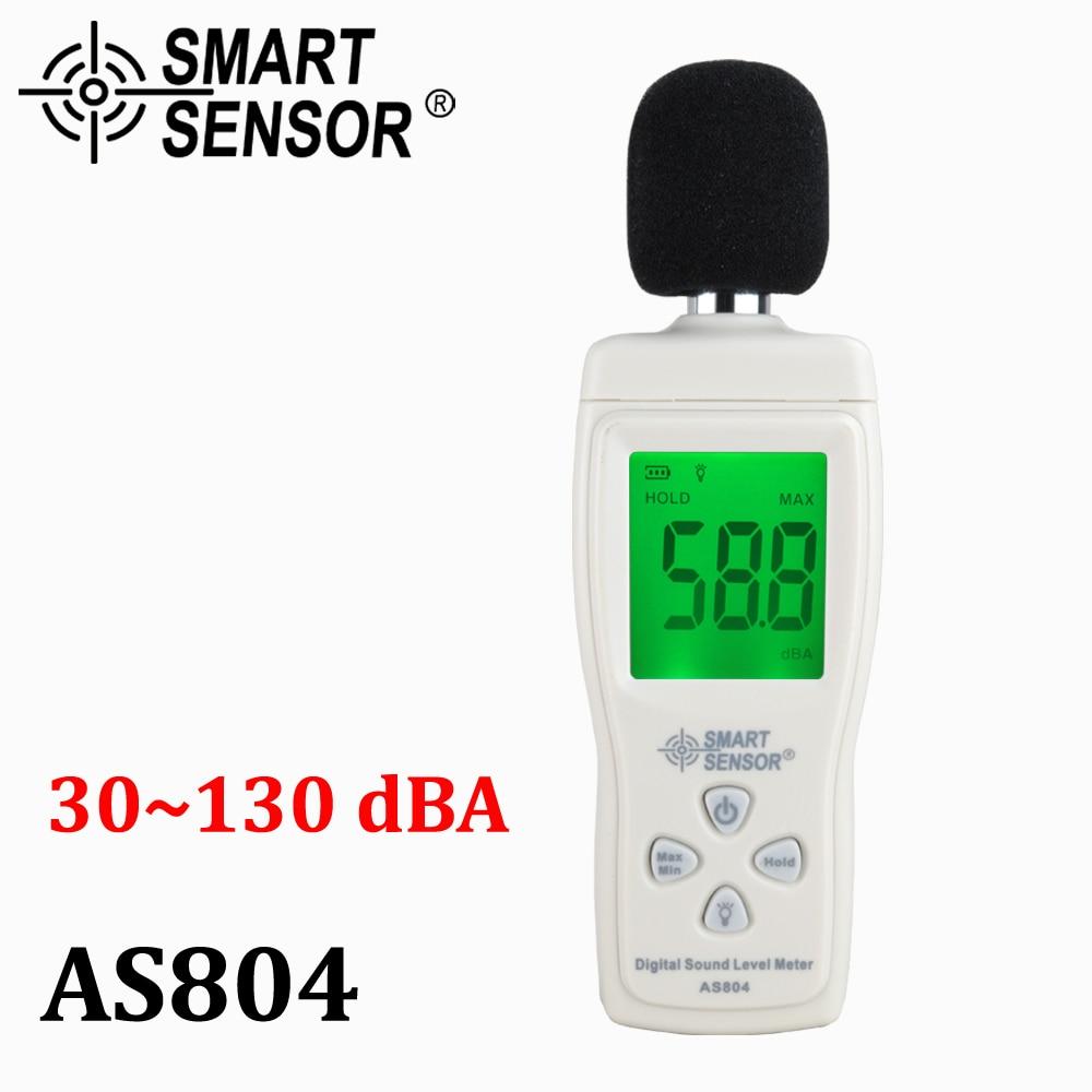 Medidor de nível de som Digital Medida 30-130dB Monitoramento medidor de Ruído dB Decibel Metro Testadores de Diagnóstico-ferramenta Inteligente Sensor AS804