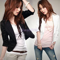 Womens Ladies 3/4 Sleeve One Button lapel Slim Short Suit Coat Jacket 2 Colors S-XXXL
