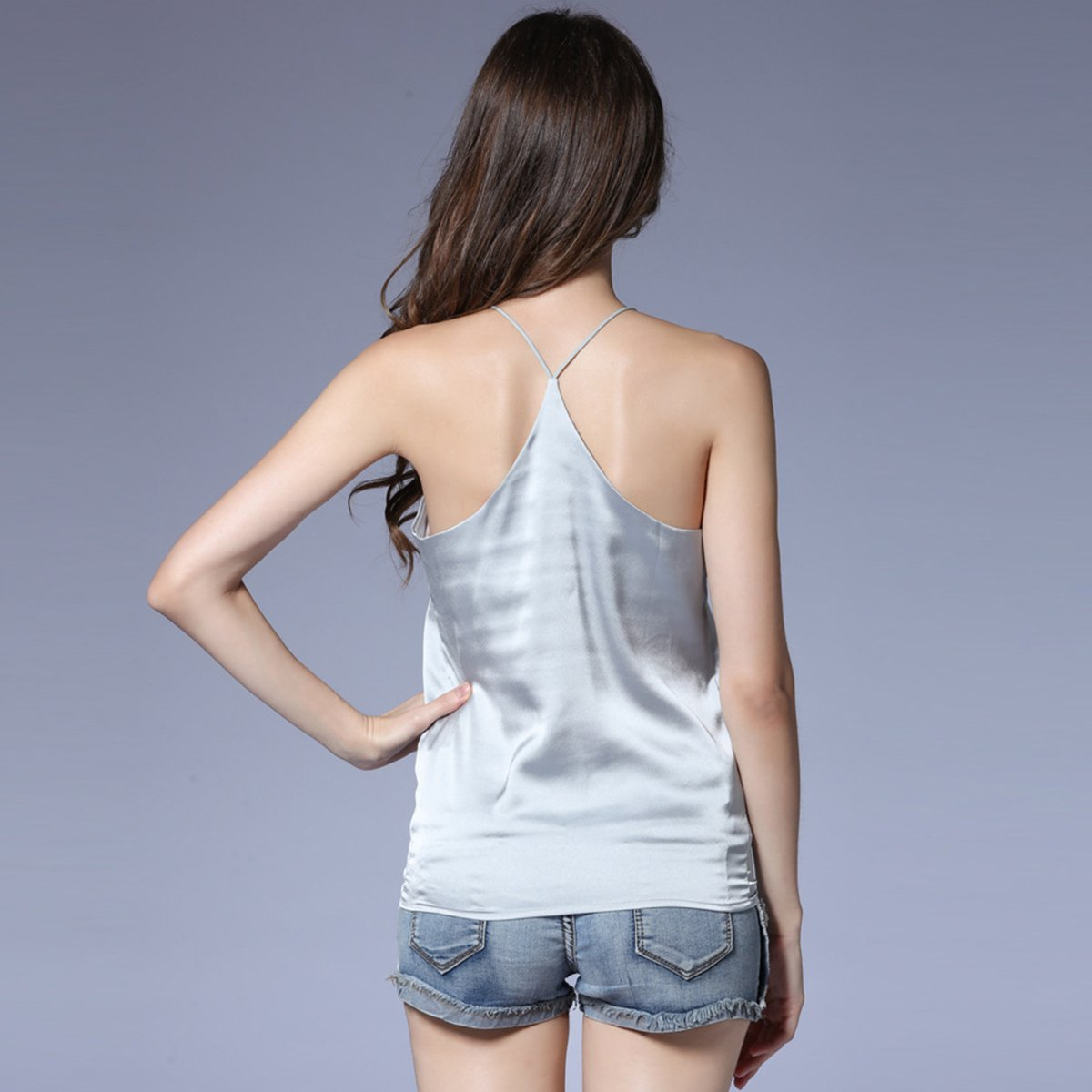 2017 new summer Sexy Faux silk women Strappy tank top deep o neck camisole sleeveless Casual Smooth Bottoming Vest tops 7