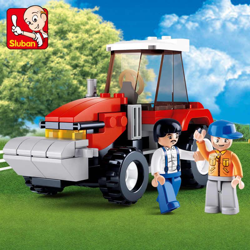 103Pcs Cerah Peternakan Peternakan Truk Traktor Model Blok Bangunan Kota Diy Batu Bata Playmobil Legoingls Mainan Pendidikan untuk Anak-anak