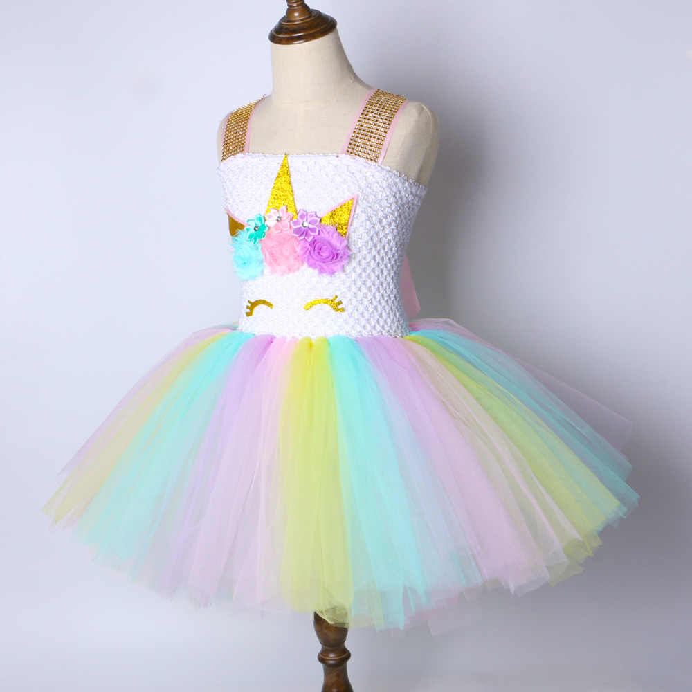 d88a97d56d9 ... Children Girls Unicorn Tutu Dress Rainbow Princess Kids Birthday Party  Dress Girls Christmas Halloween Pony Cosplay ...