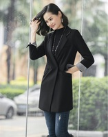 Autumn Fashion Casual Women Trench Coat Black Long Blazer Office Ladies Outerwear Clothes OL Style